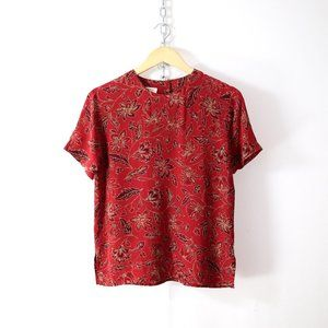 vintage 90s pure silk floral print tee XS/S